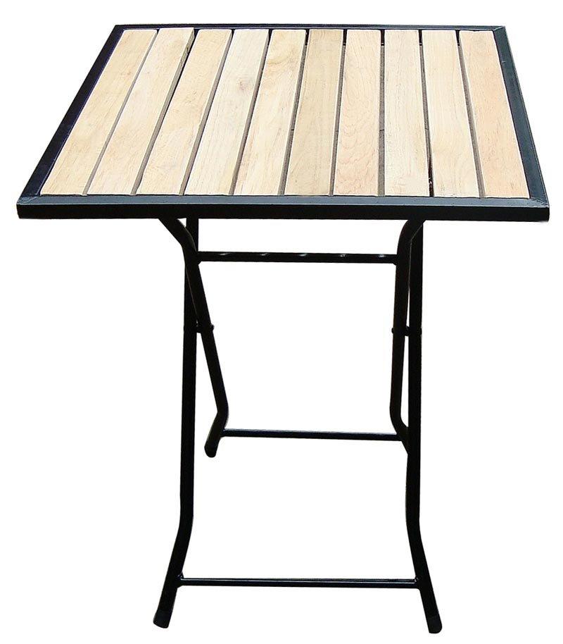 Mesa para terraza m97 en madera y metal dimensiones for Mesas de madera para terraza