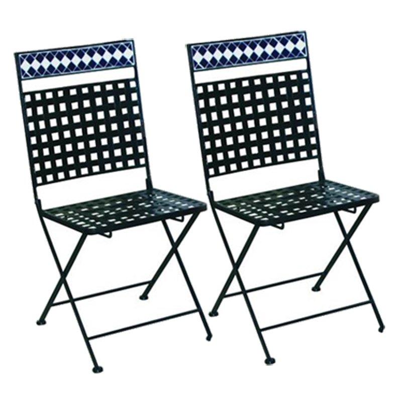 Lote 2 sillas de jard n mosaico m9282 lote 2 sillas para for Sillas de diseno para exterior