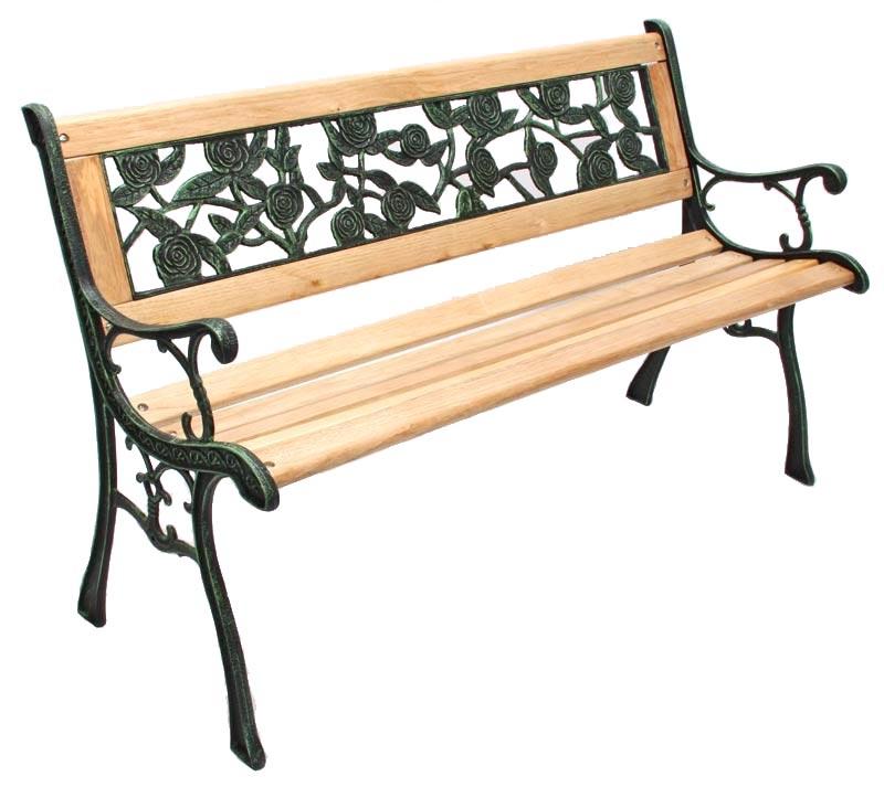 Banco de jard n amadora dimensiones 126x55x74cm en for Banco de jardin de hierro y madera