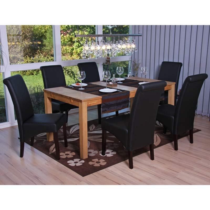 Lote de 6 sillas de comedor turin tapizadas en piel negra for Sillas de comedor de piel