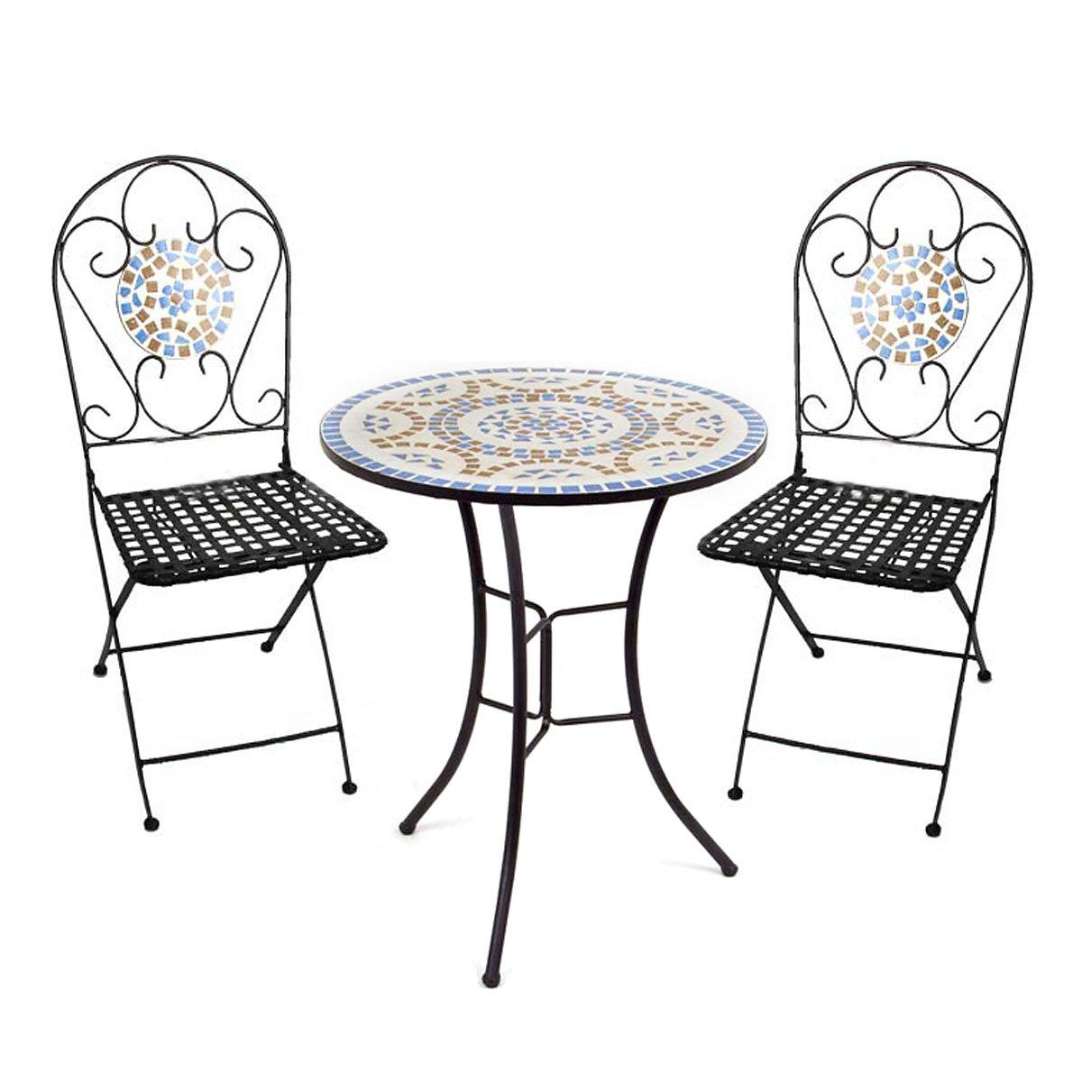 Conjuto para jard n con 1 mesa 2 sillas en mosaico for Mesas y sillas de plastico para jardin