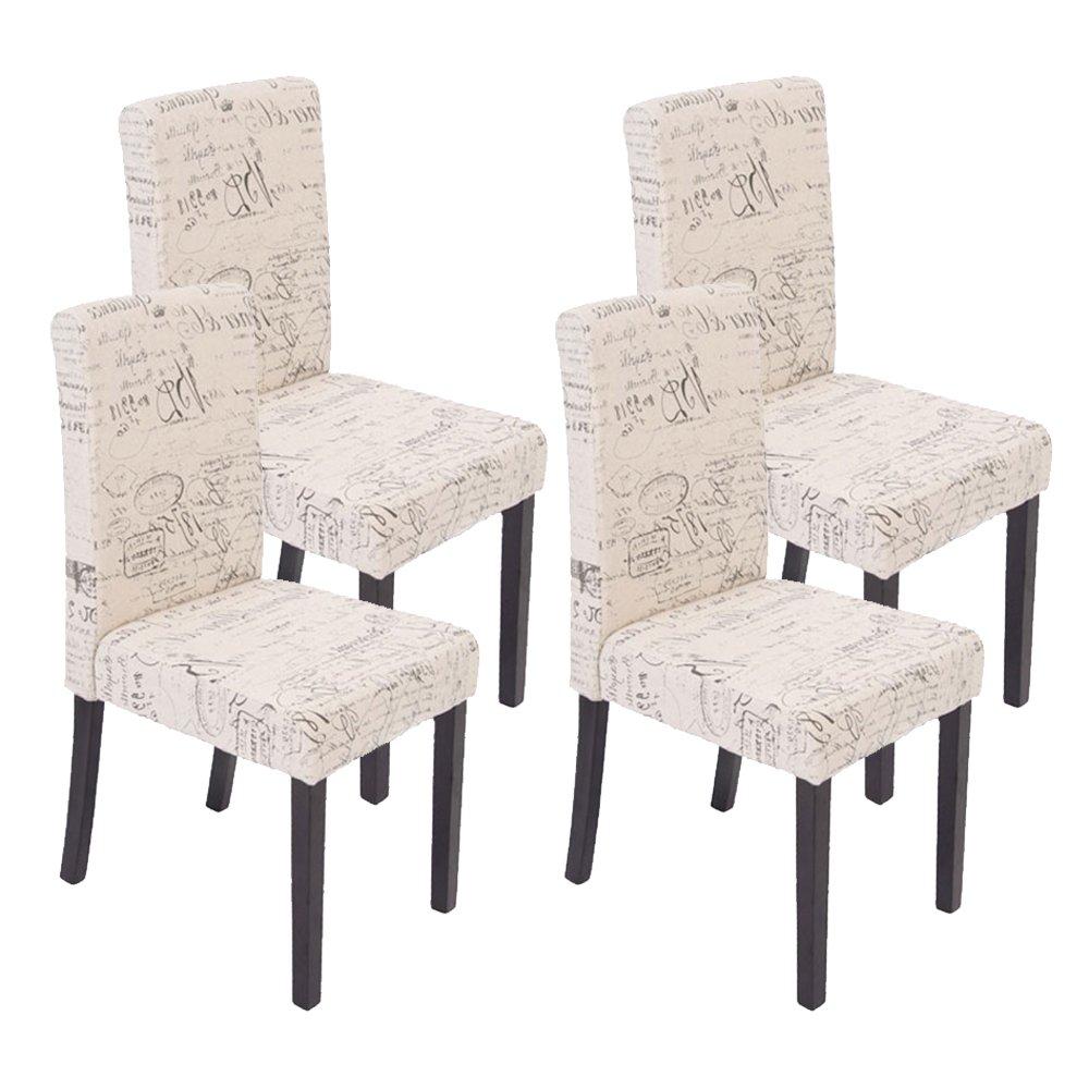Conjunto de 4 sillas dali crema con motivos patas for Conjunto sillas comedor