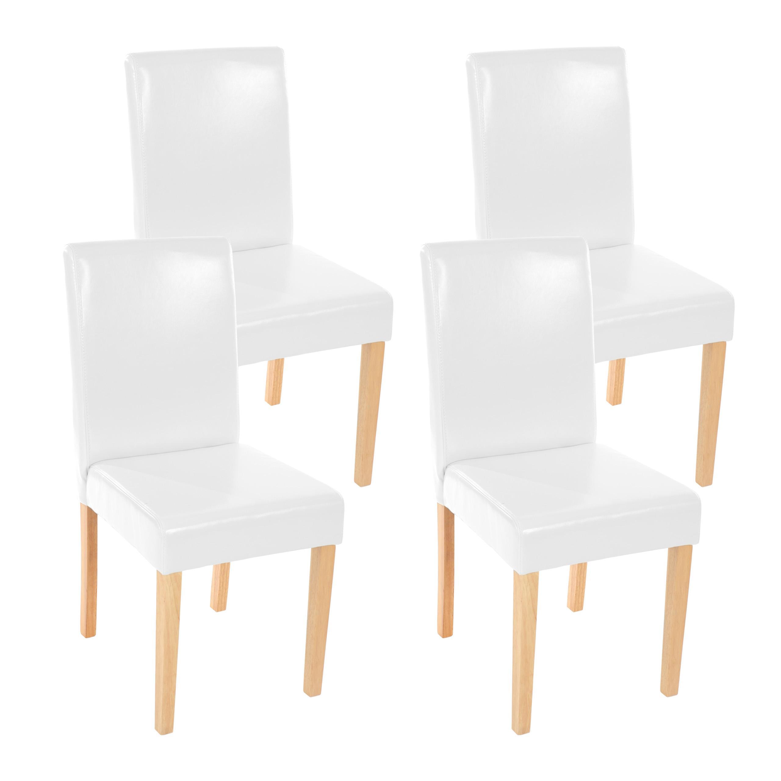 Lote 4 sillas comedor litau piel natural blanca y patas - Sillas comedor piel ...