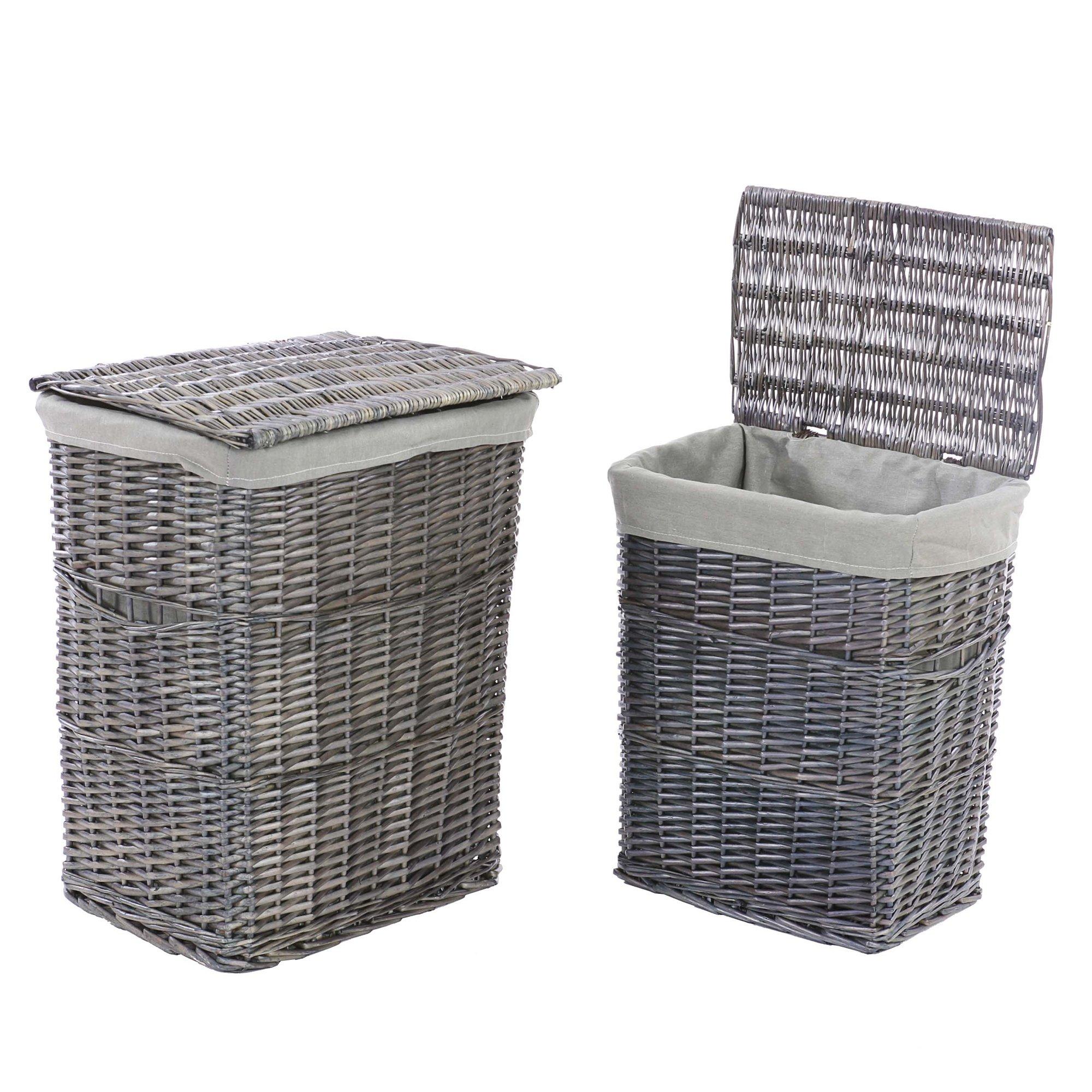 Juego de 2 cestas para la ropa en mimbre altura 57 49 cm - Cestas de mimbre ikea ...