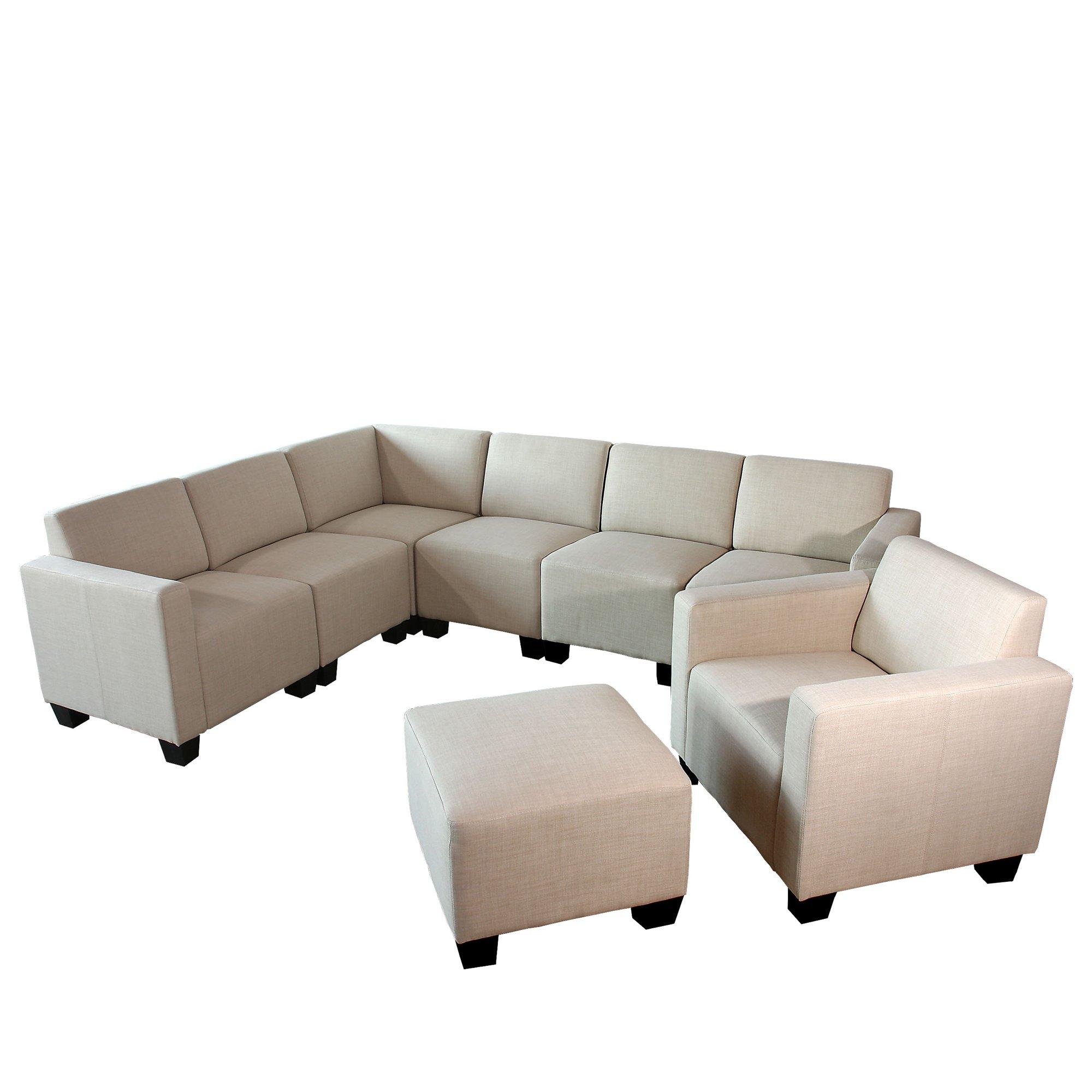Sofa Modular LYON en 6 piezas + 1 Sillón auxiliar + Otomano, Gran ...