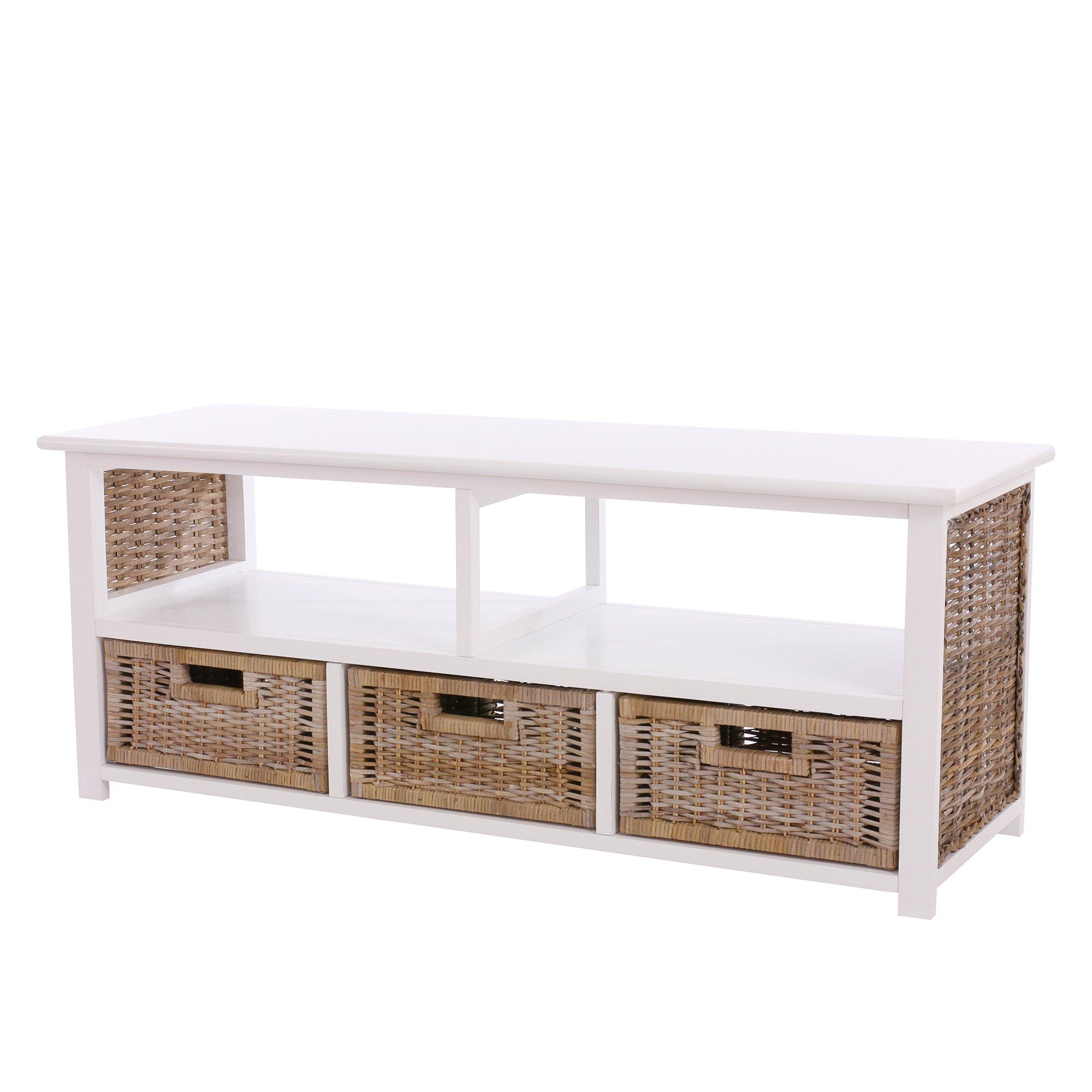 Mesa para tv de madera en color blanca y cestas de mimbre for Mesa blanca y madera