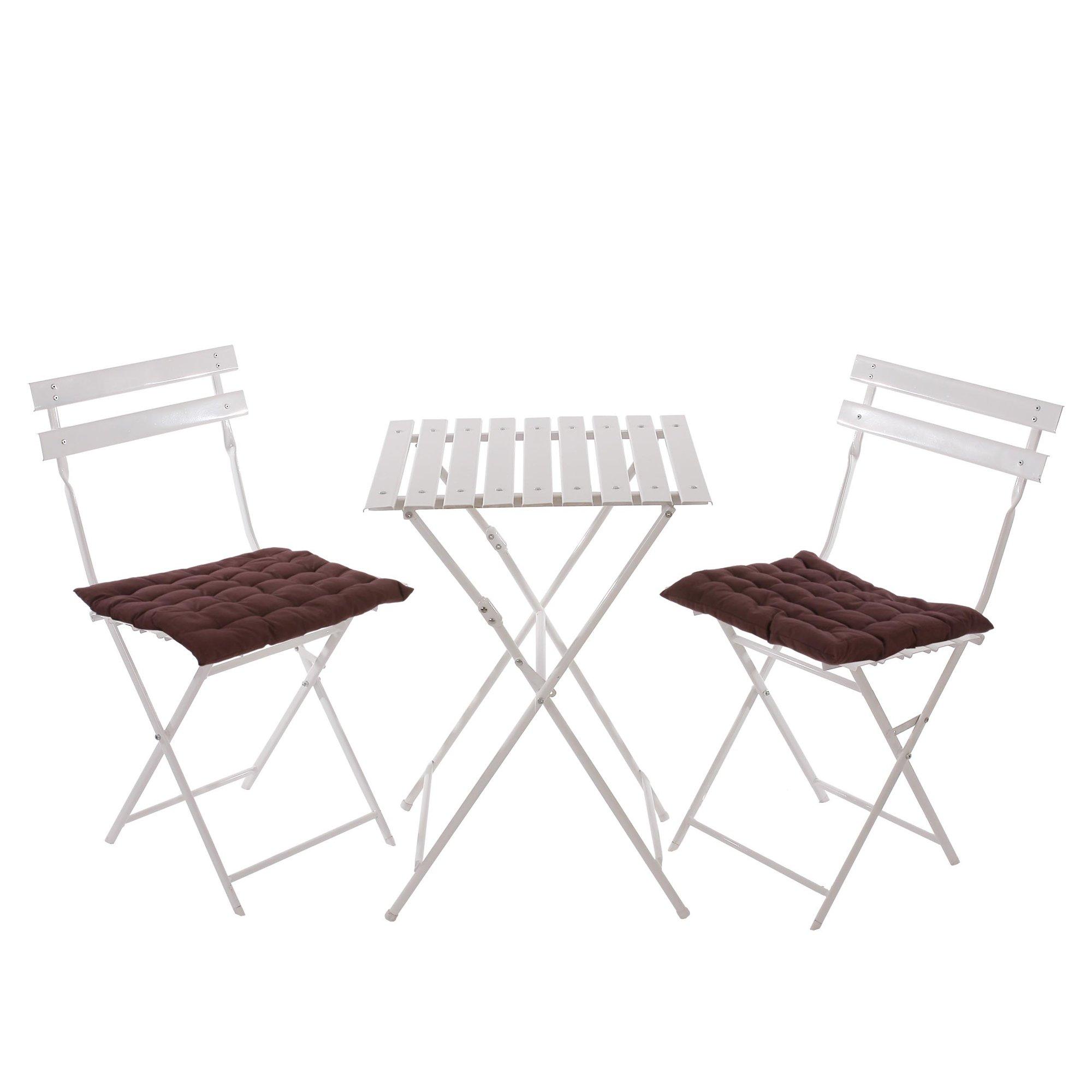 Conjunto de 2 sillas mesa para terraza en metal blanco - Cojines marrones ...