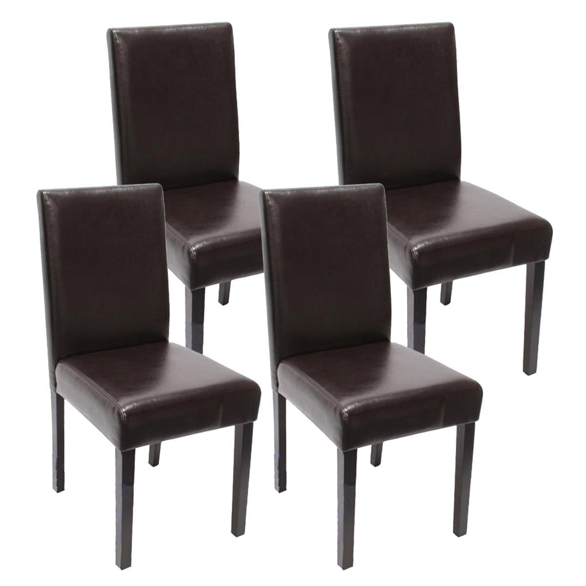 Lote 4 sillas de comedor litau piel genuina precioso for Sillas de piel para comedor