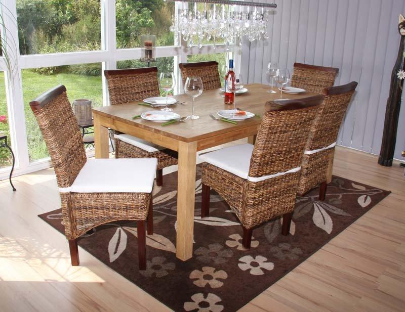 Lote 6 sillas m45 en madera mimbre marr n y patas madera for Sillas mimbre comedor
