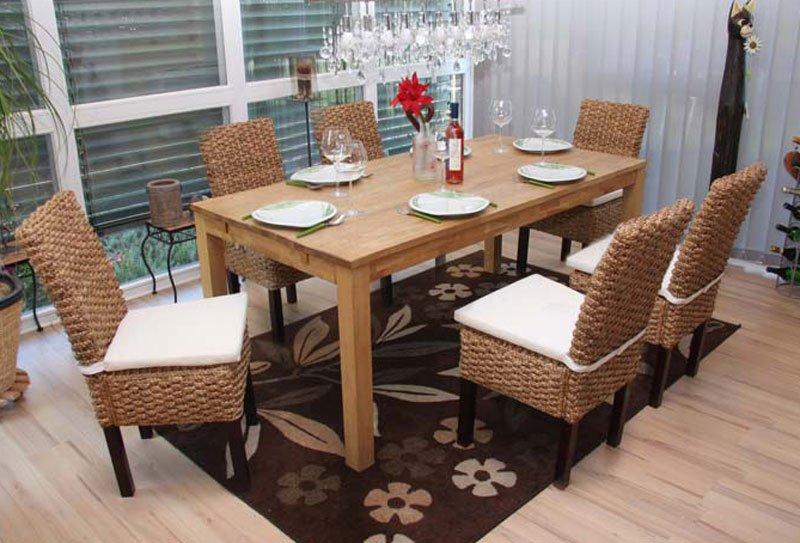lote 6 sillas de comedor sabana en madera y mimbre color