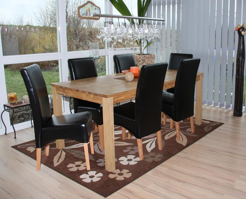 Lote 6 sillas de comedor latina en piel genuina negra y for Sillas negras de madera