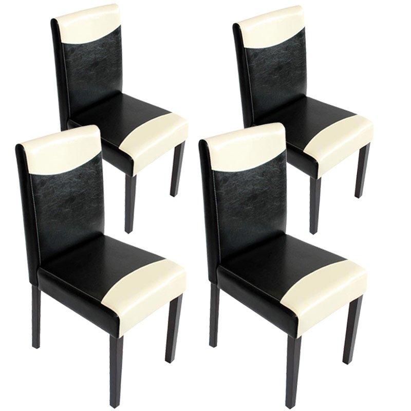 lote sillas de comedor litau precioso diseo polipiel negrocrema y patas oscuras