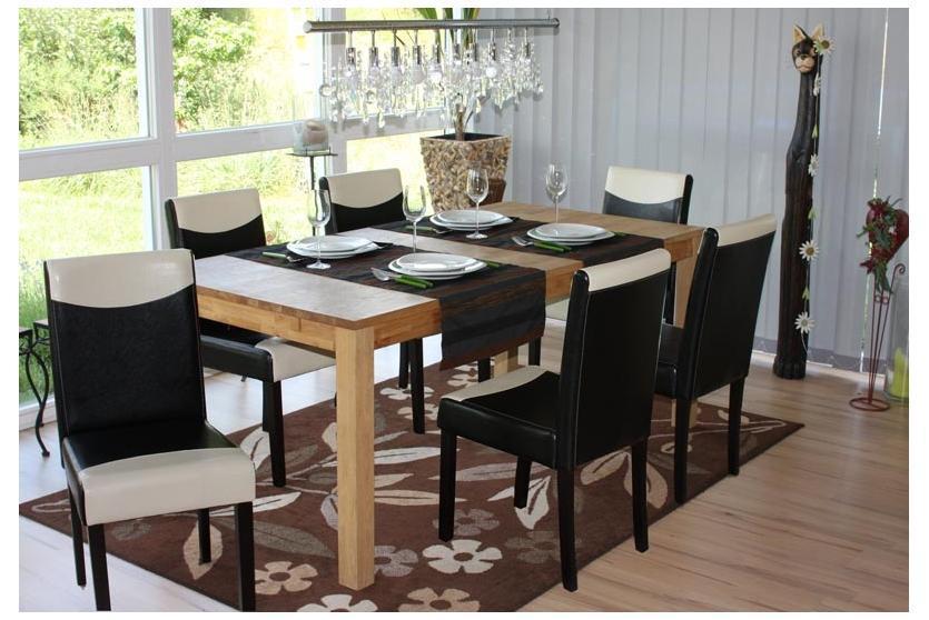 Conjunto 6 Sillas de Comedor LITAU en madera y polipiel color crema ...