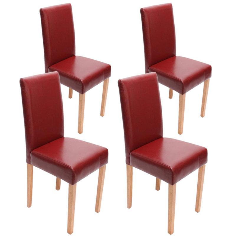 Lote 4 sillas de comedor litau polipiel rojo patas claras for Sillas rojas comedor