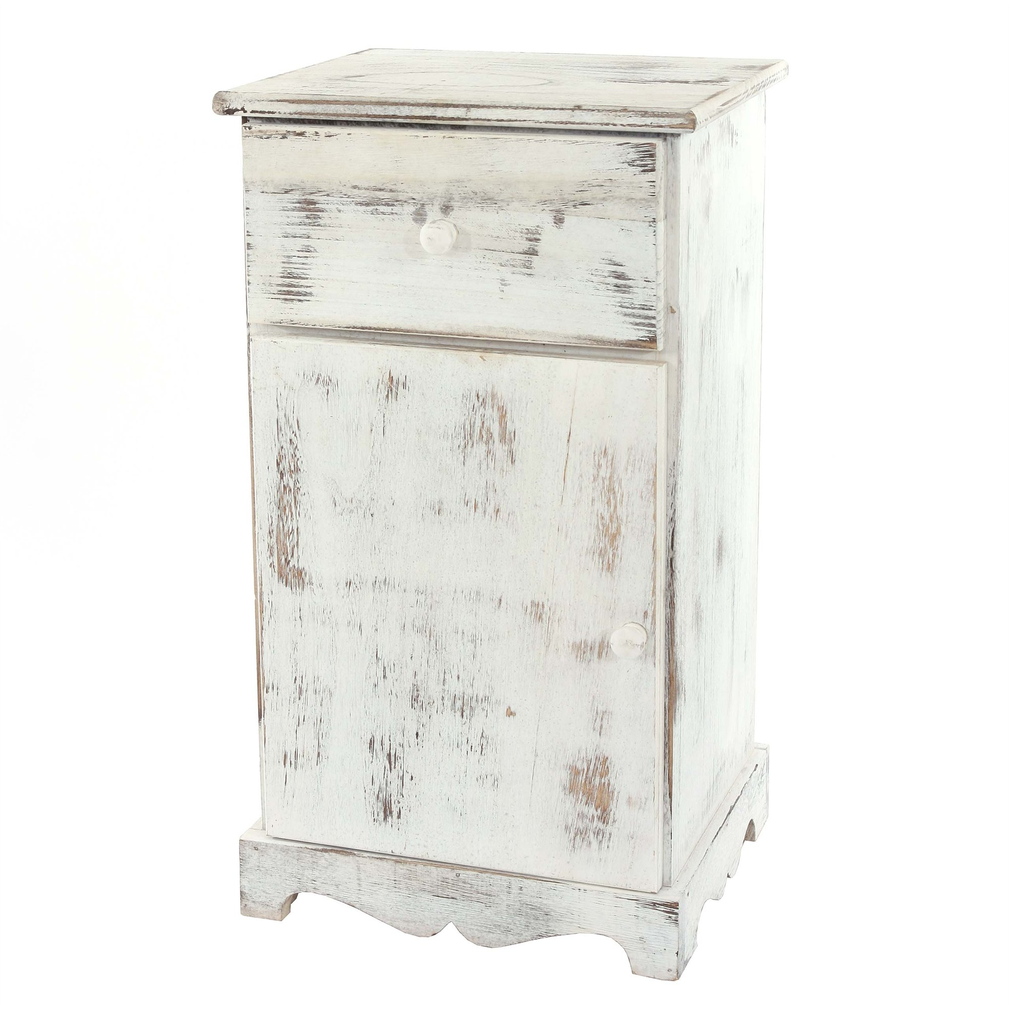 C moda mesita de noche de 63x35x29cm estilo vintage color blanco - Mesitas de noche valencia ...