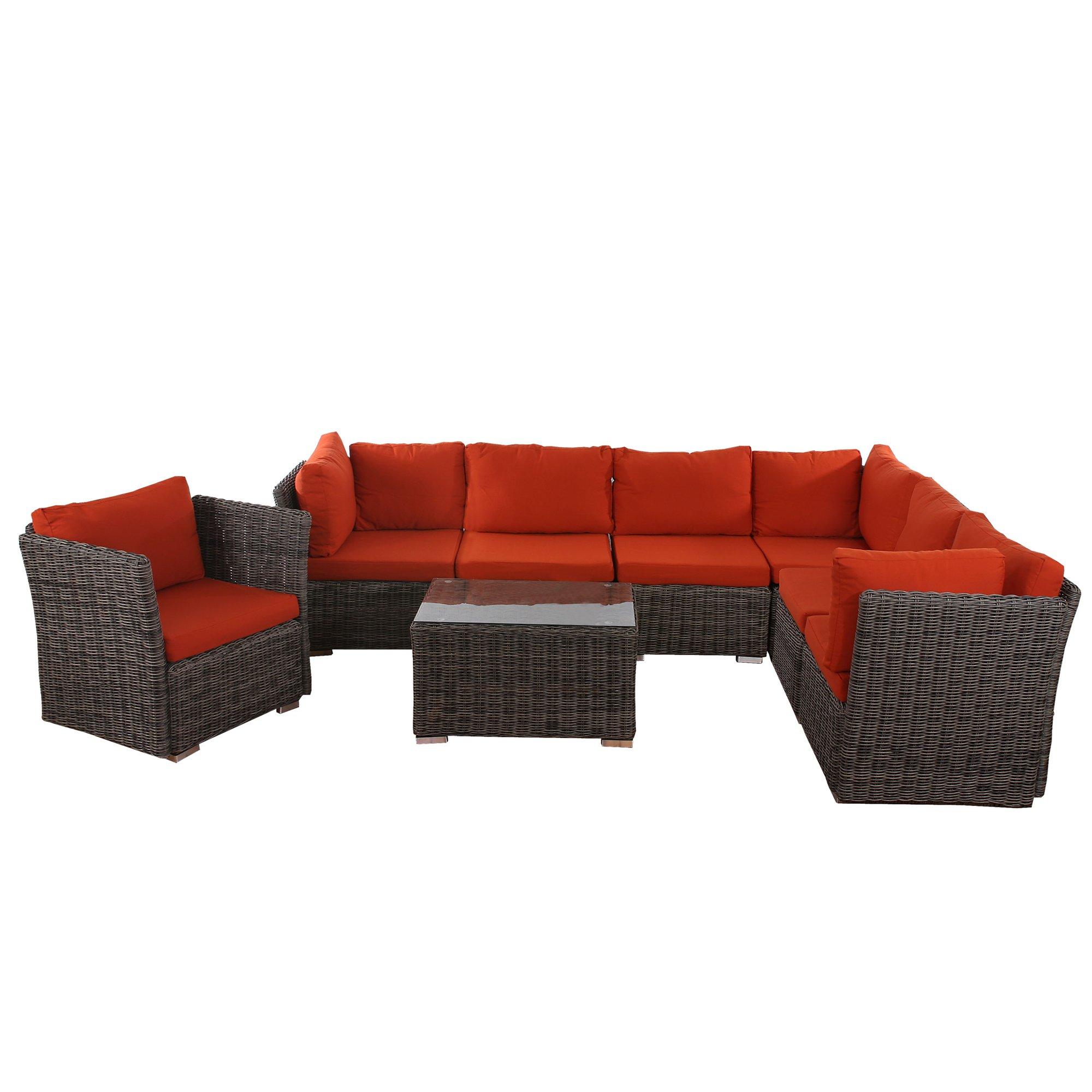 Conjunto Sofa modular SIENA 6+1 en Poly Ratan gris natural, 100 ...