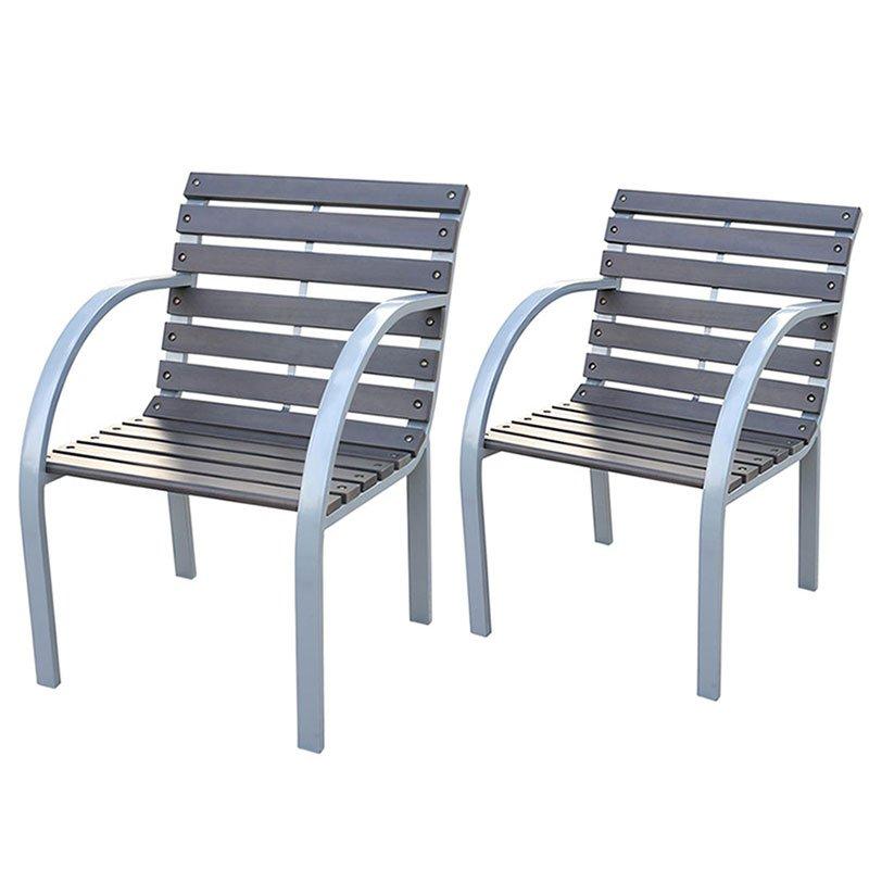 Lote 2 sillas de jard n granada en madera oscura lote de for Sillas terraza jardin
