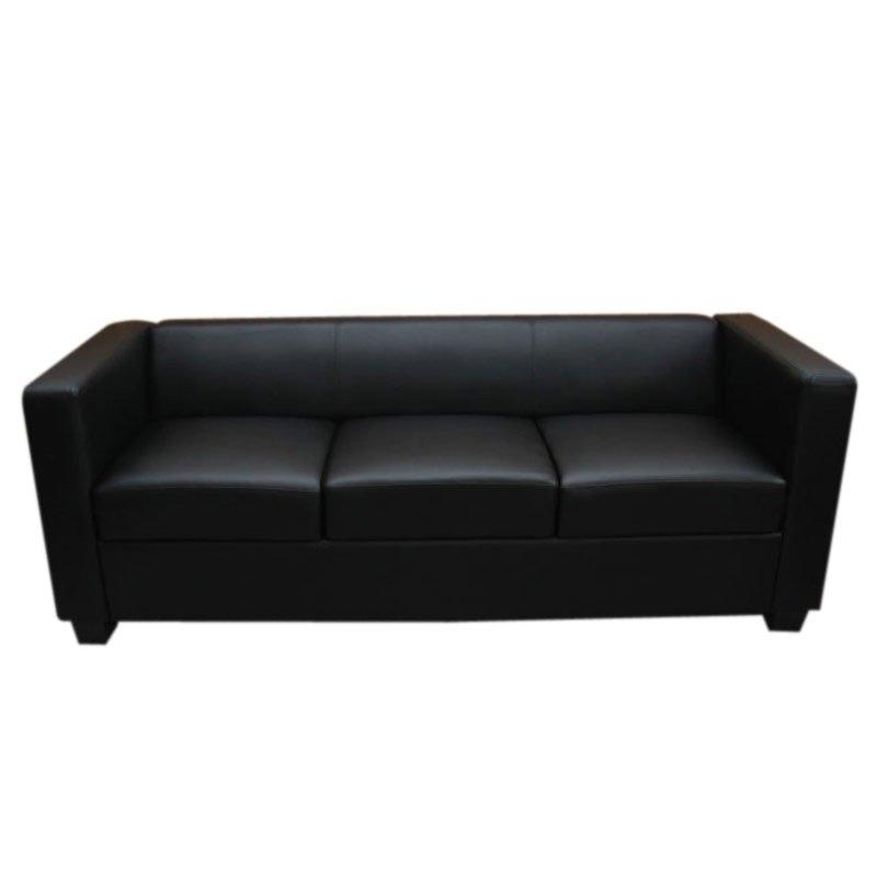 Sofá de 3 plazas LILLE, en cuero color Negro