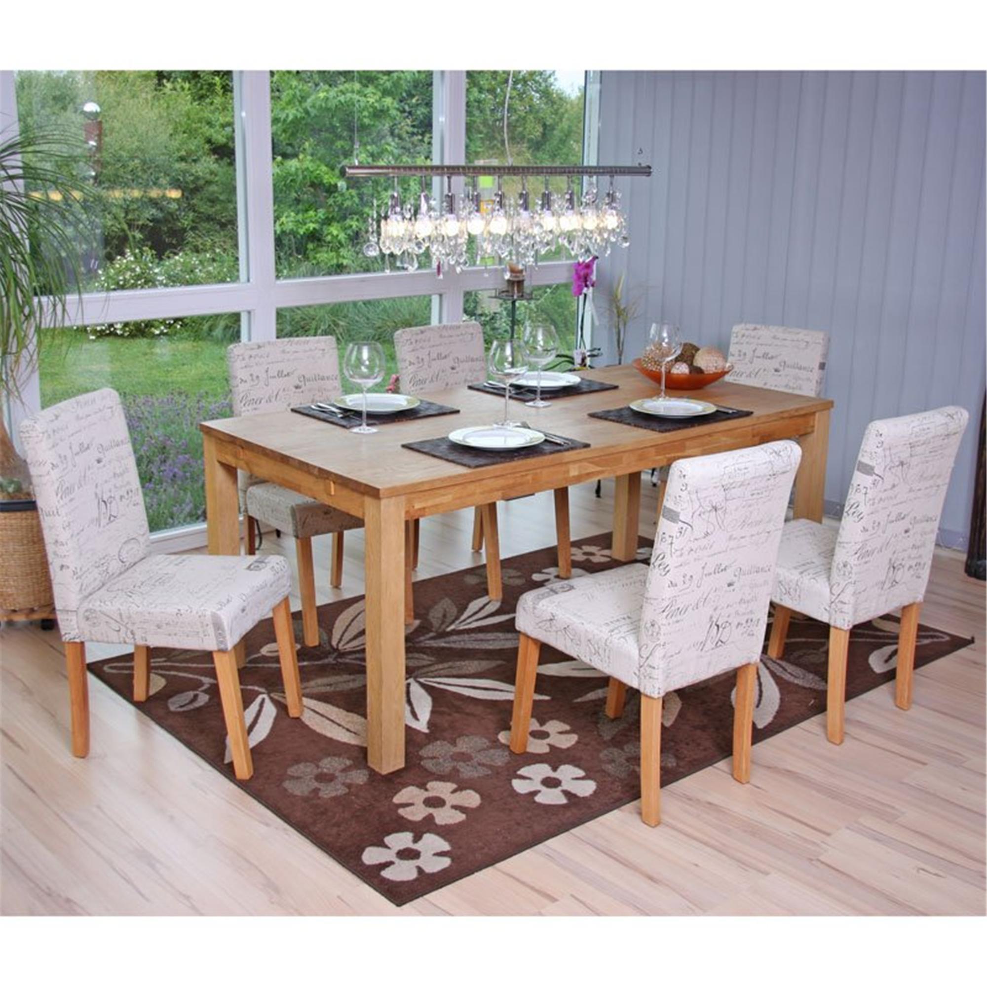Conjunto de 6 sillas dali tejido crema con motivos patas for Conjunto sillas comedor