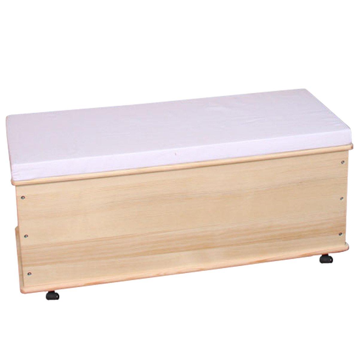 Ba l para almacenaje en madera natural 91 cm cesta o - Banco baul madera ...