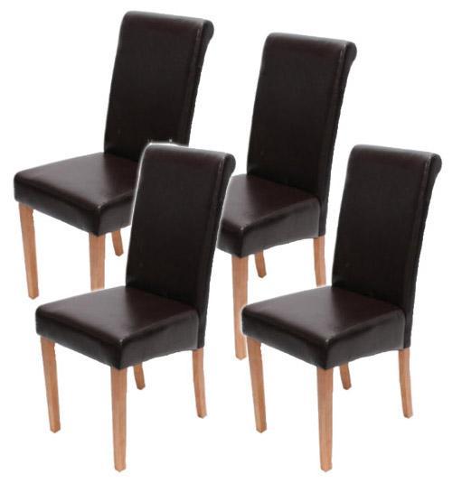 Lote 4 sillas novara ii cuero marr n patas brillantes for Sillas comedor cuero marron