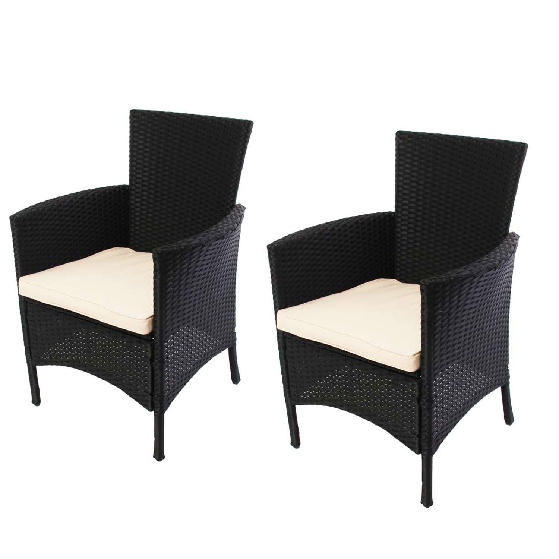 Lote 2 sillas de jard n parma poly rat n aluminio negro for Sillas colgantes para jardin