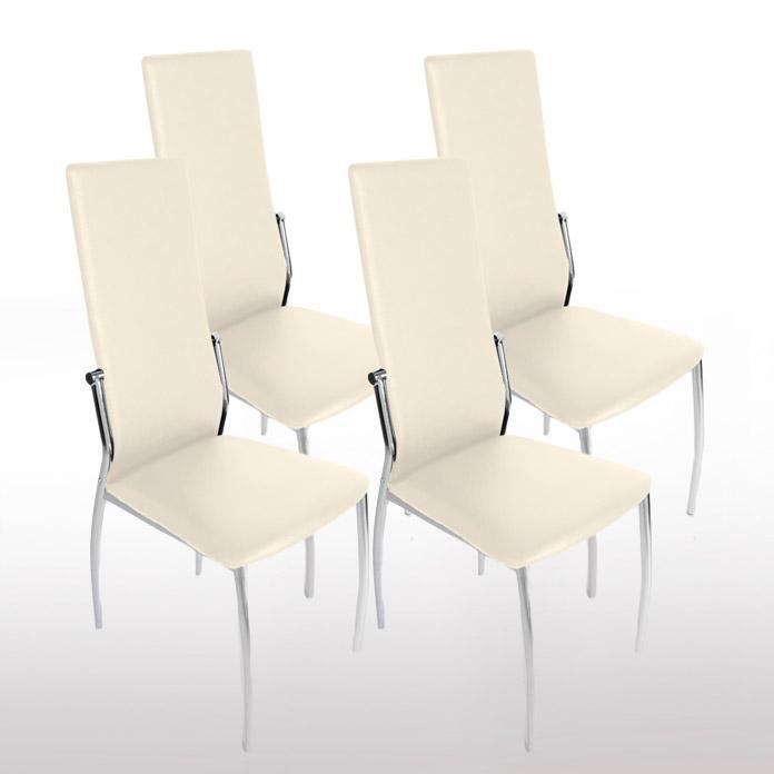 Lote 4 sillas de cocina BARI en piel crema y patas cromadas - DEMO ...
