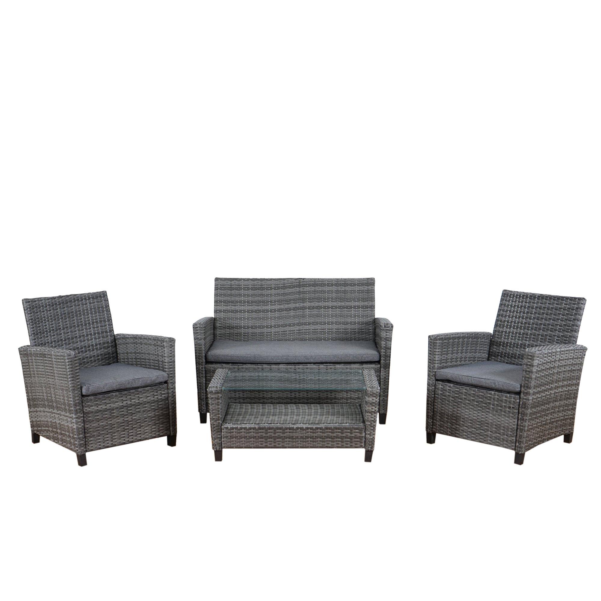 2-1-1 ratán poli sofá muebles de jardín sofá conjunto establecido ...