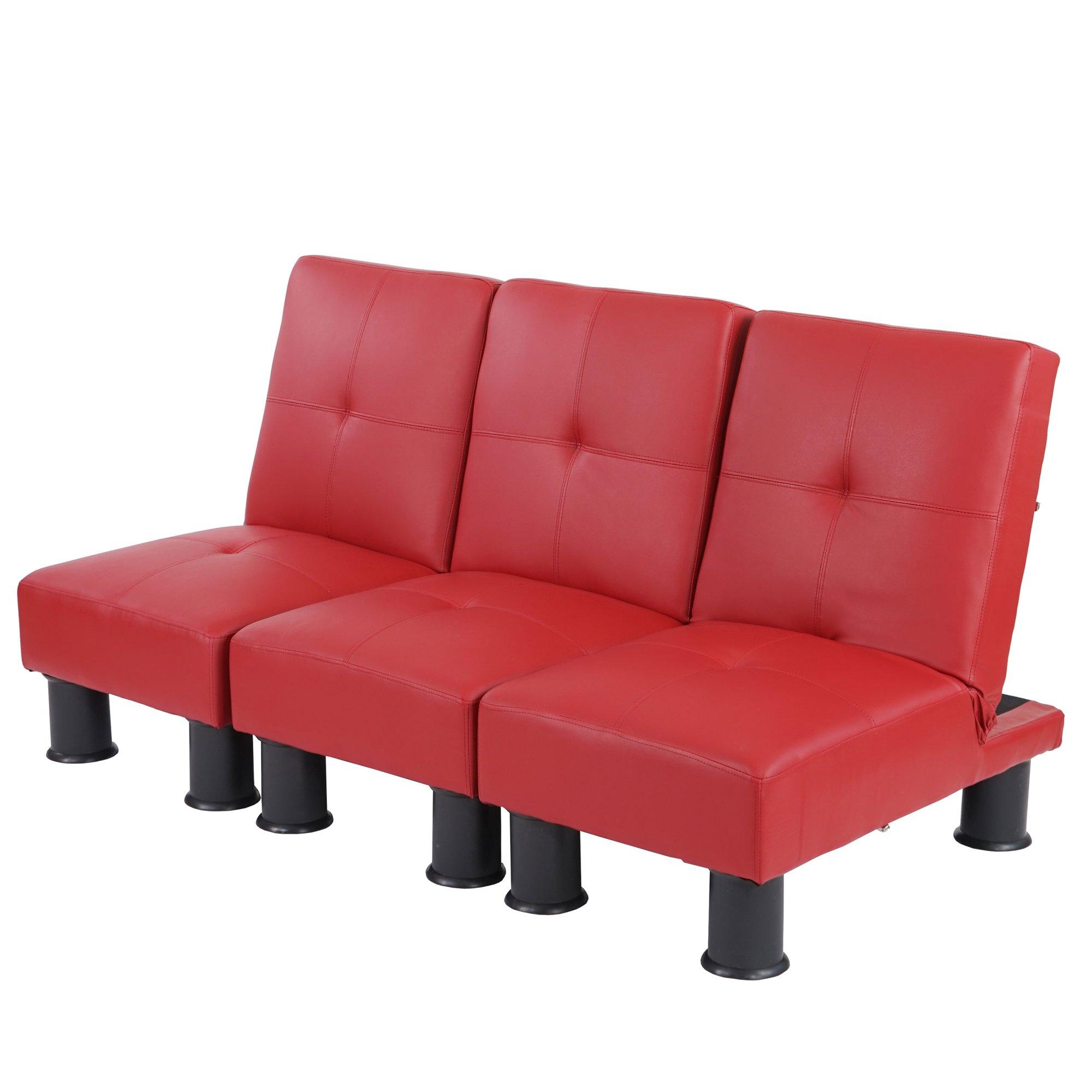 Lote 3 modulos sofa cama melbourne ii en piel color rojo for Sofa cama modular