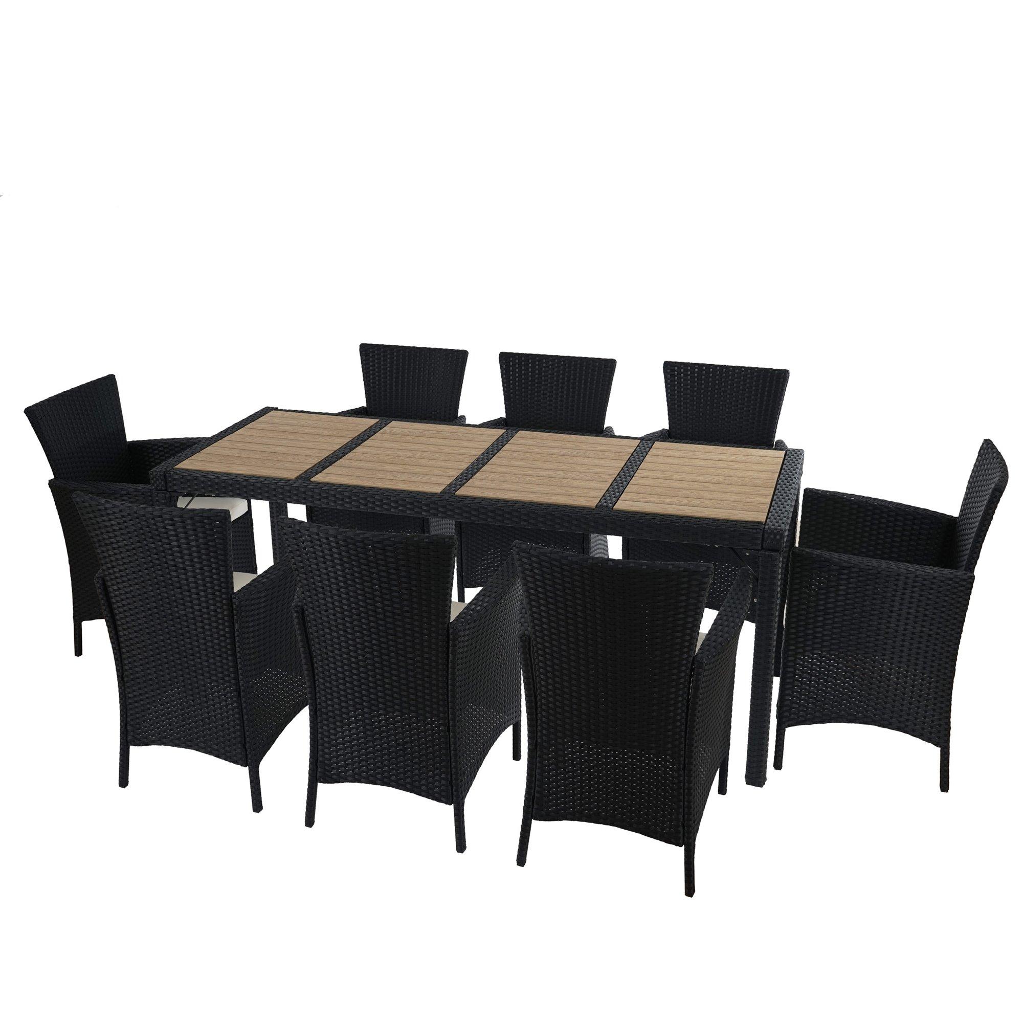 Poly muebles de jard n de rat n romv 8 sillas mesa de - Muebles de jardin de ratan ...