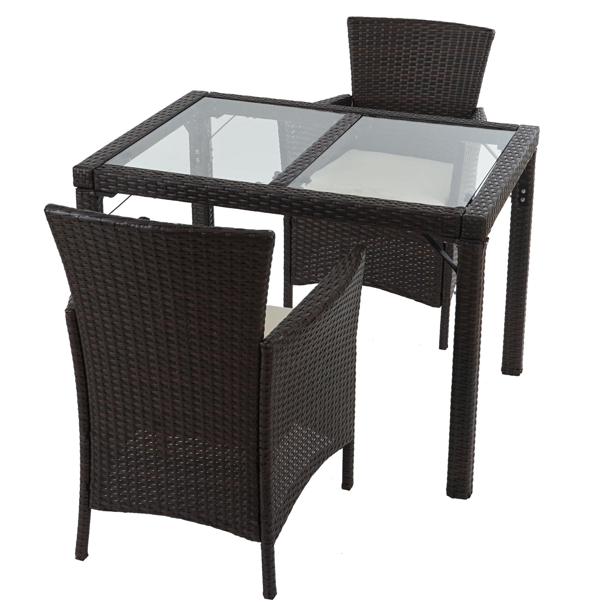 Poly muebles de jard n de rat n romv 2 sillas mesa de for Muebles de aluminio para jardin