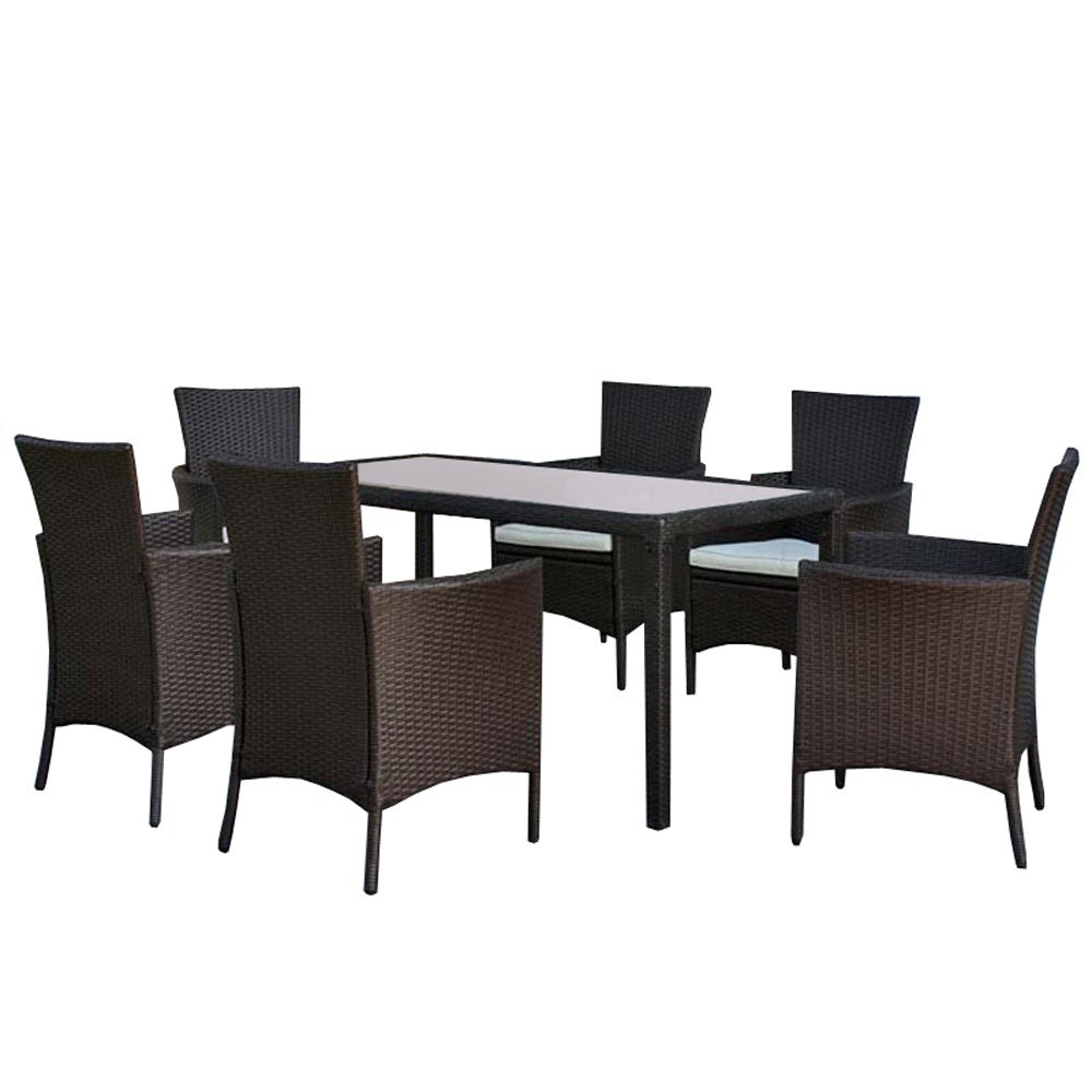 Poli jardín ratán sala de muebles de comedor establece RomV, 6 ...