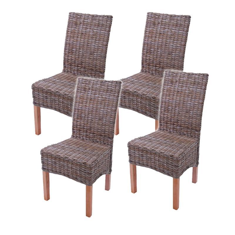 Lote 4 sillas m44 en madera y mimbre lote 4 sillas de for Comedor para jardin