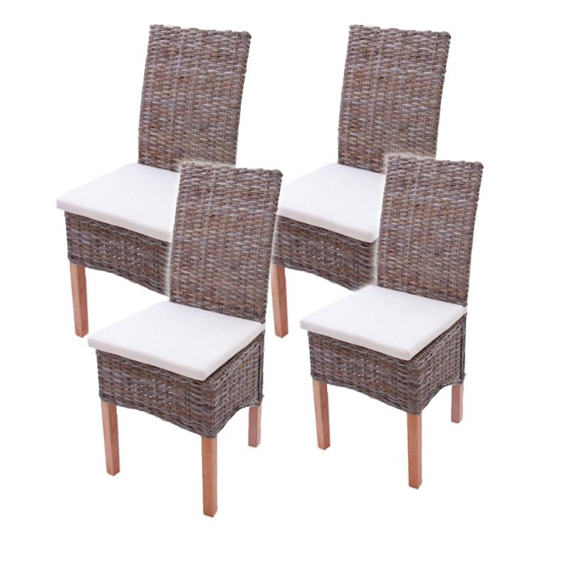 Lote 4 sillas m44 en madera y mimbre cojines incluidos lote 4 sillas de comedor o jard n m44 - Cojines sillas comedor ...