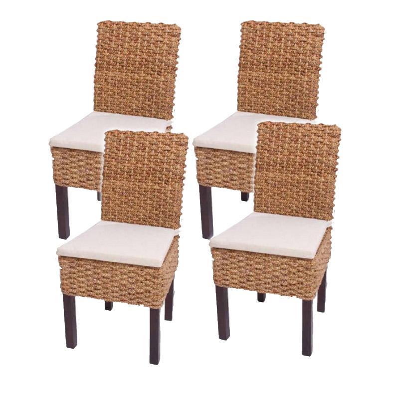 lote 4 sillas de comedor sabana en mimbre y madera color
