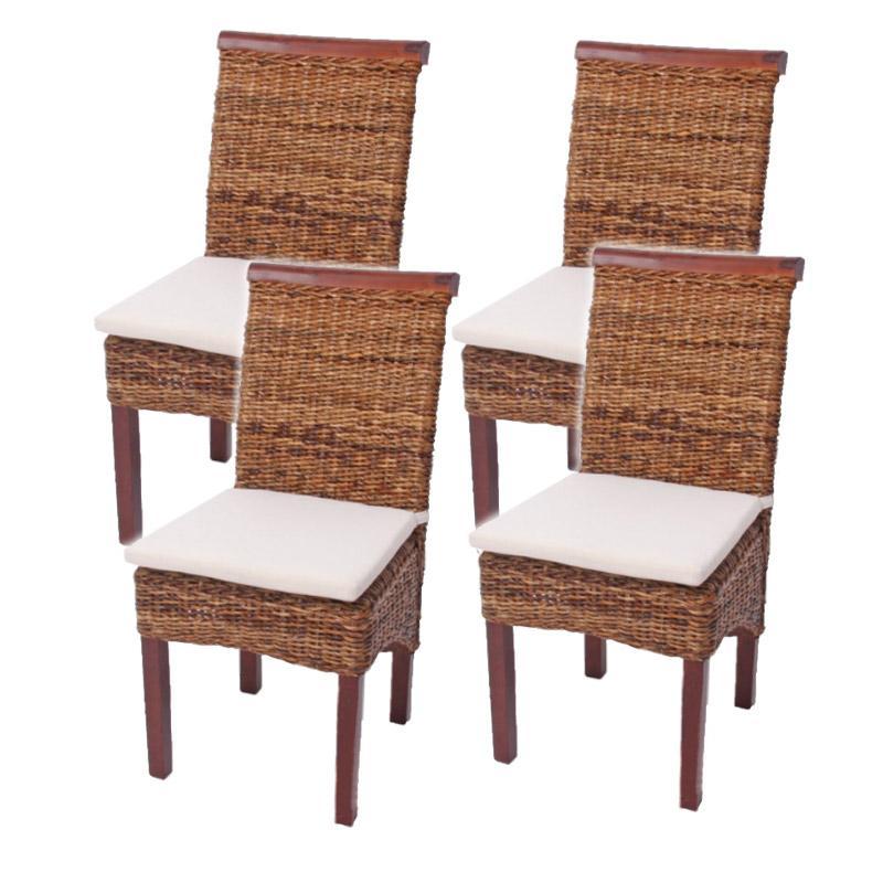 Lote 4 sillas m45 en madera mimbre marr n y patas madera for Sillas comedor jardin