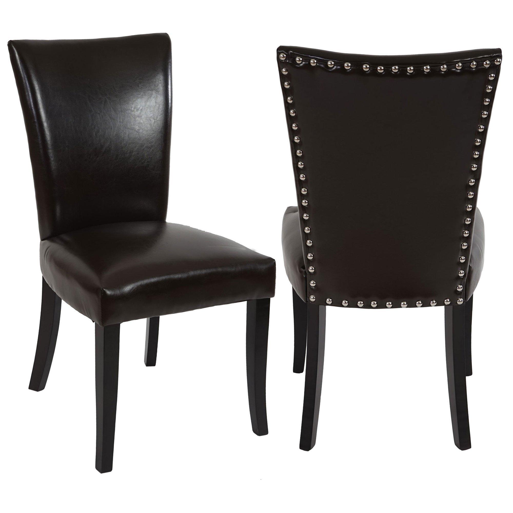 Lote de 2 sillas de comedor AUGUSTO, piel marrón y patas oscuras ...