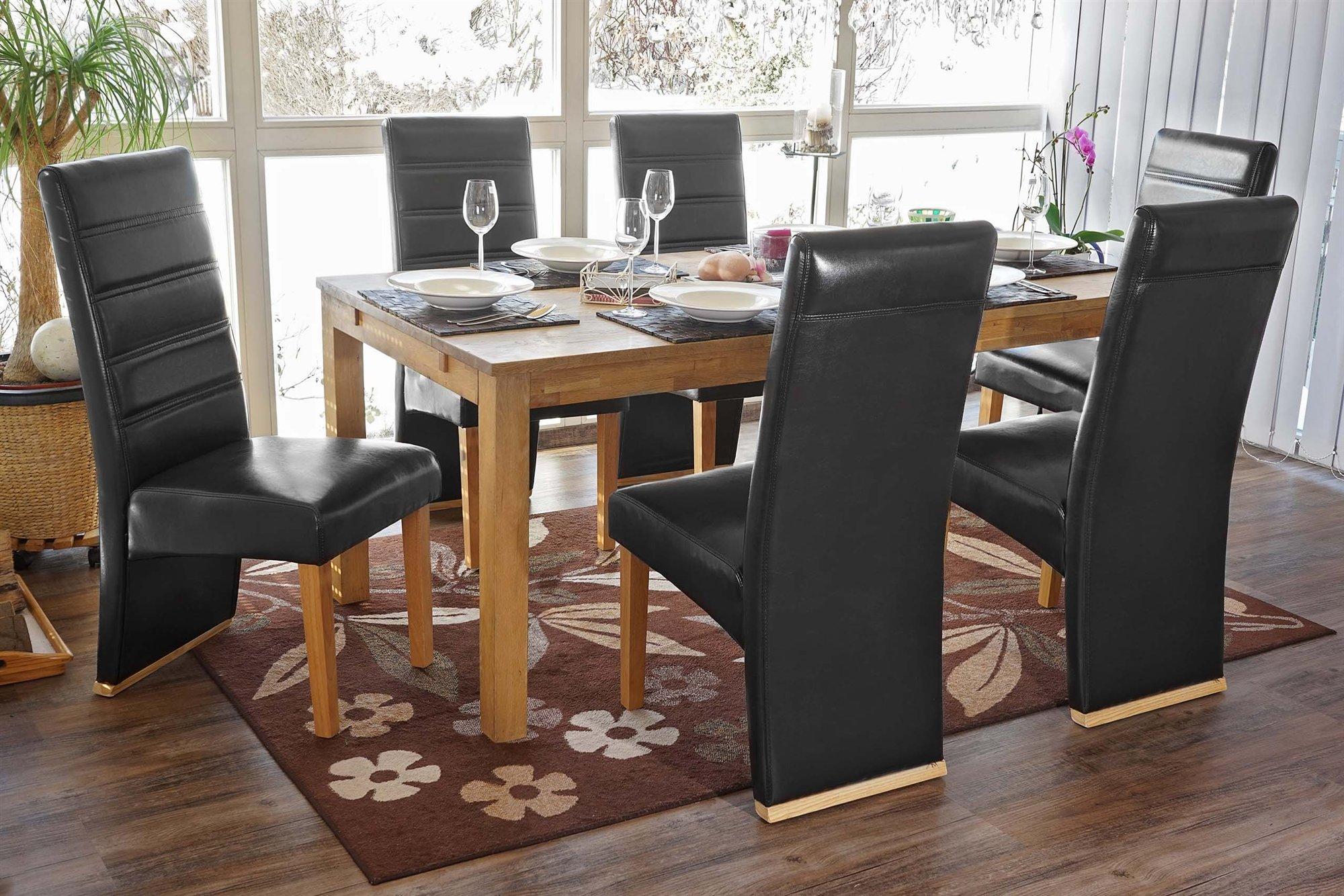 Lote de 6 sillas de comedor neron piel negra y patas for Sillas de cuero para comedor
