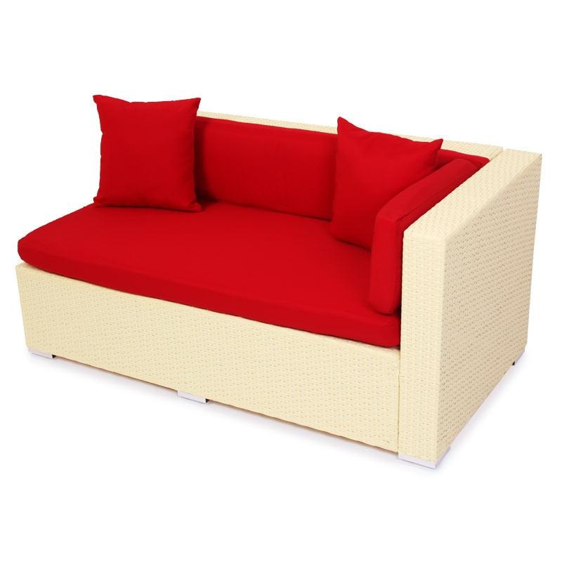 Sofa Modular ROM V, Esquinero, En Poli-rattan, Color Crema