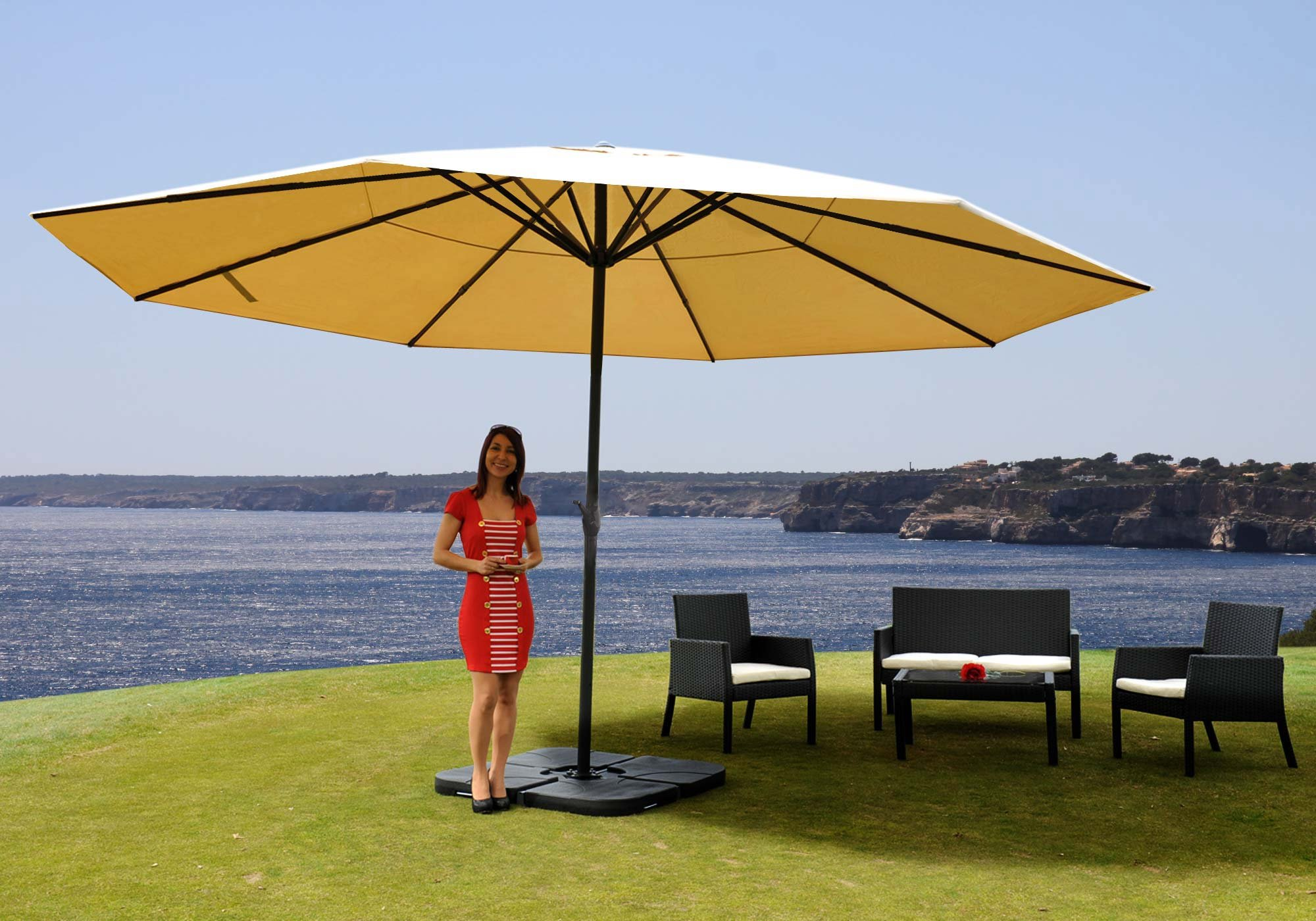 sombrilla misty en crema 5 m di metro con base 4 m dulos altura ajustable. Black Bedroom Furniture Sets. Home Design Ideas