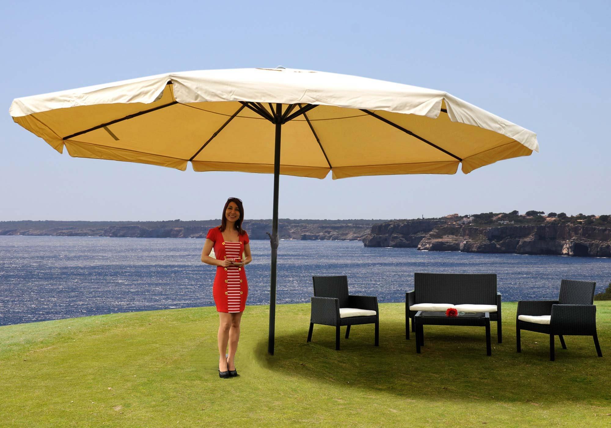 sombrilla misty color crema 5 m di metro base fija altura ajustable muy resistente. Black Bedroom Furniture Sets. Home Design Ideas