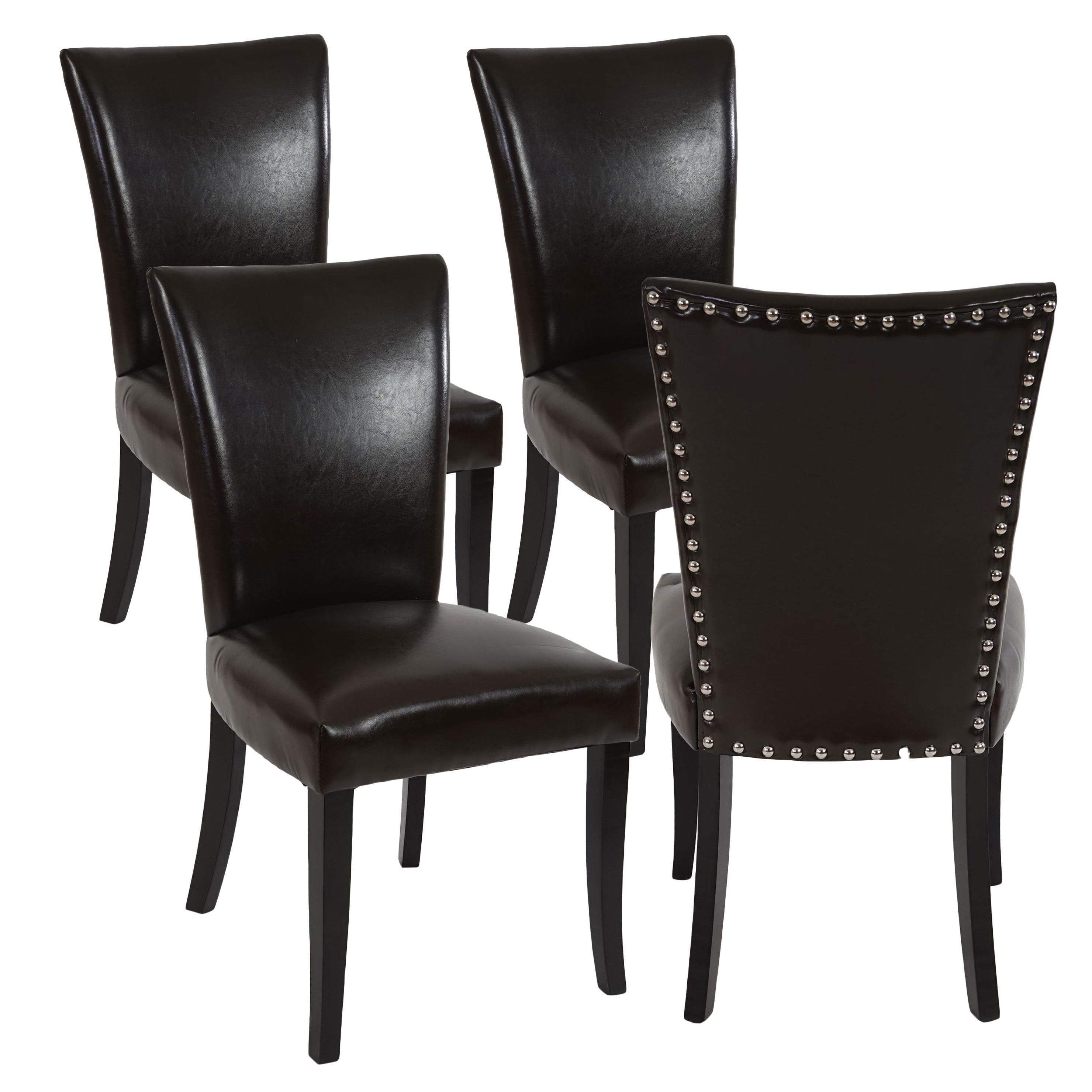 Lote de 4 sillas de comedor augusto piel marr n y patas for Sillas de comedor clasicas tapizadas