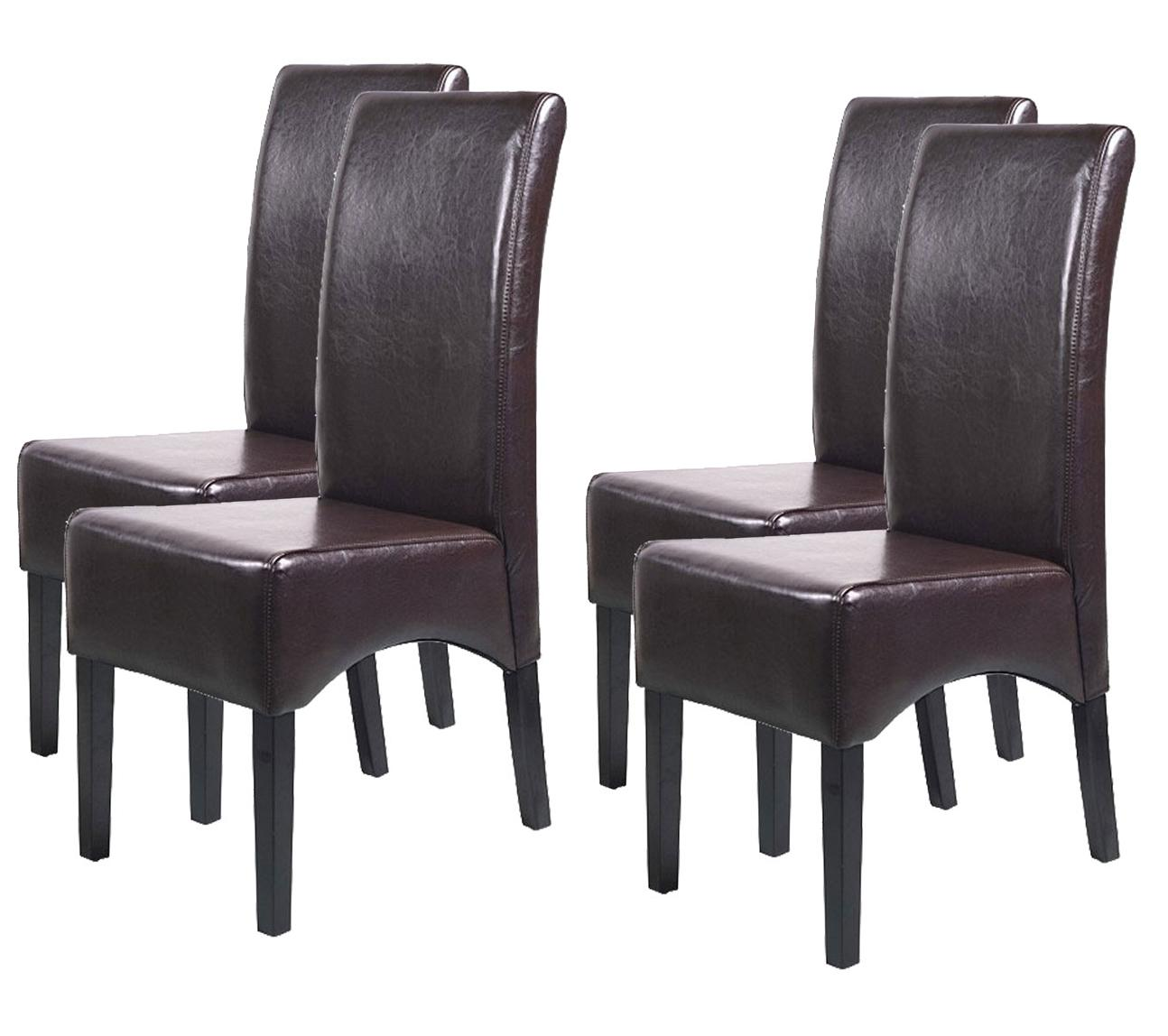 Lote 4 sillas de comedor latina en marr n piel genuina y for Sillas en piel para comedor