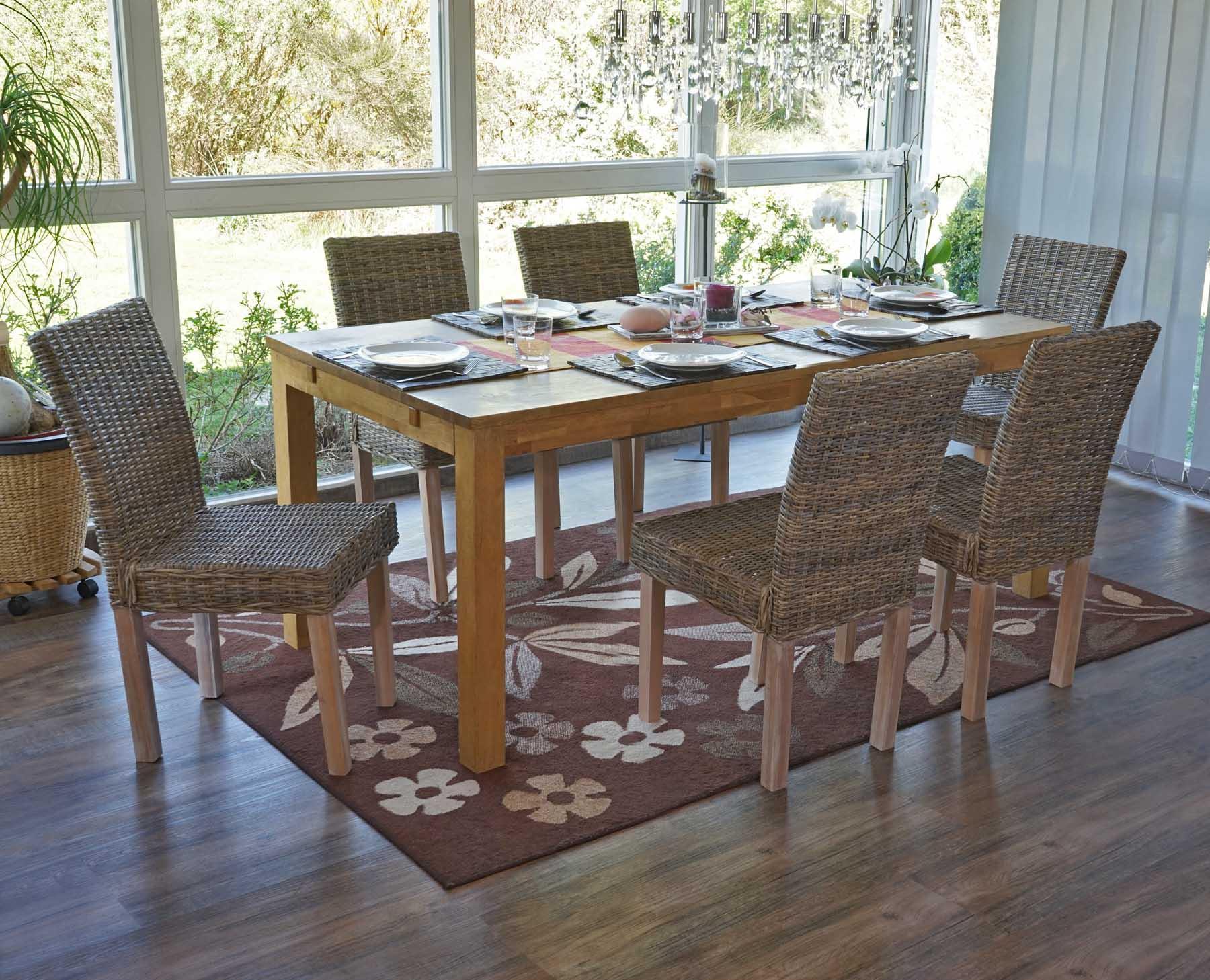 Lote de 6 sillas de comedor luca en poly rattan color for Sillas mimbre comedor