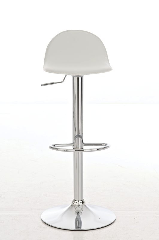 Taburete de Bar CANDELA, exclusivo diseño, ajustable en altura, en piel color blanco