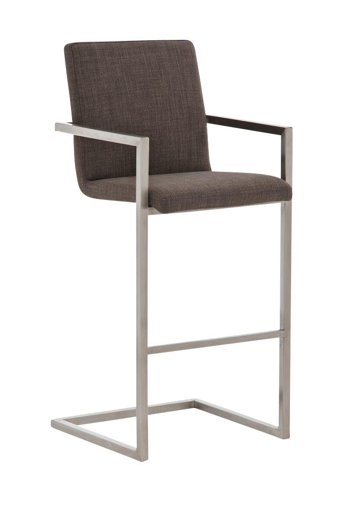 Taburete de dise o isaia en tela color gris y estructura de acero inoxidable apoyabrazos - Color gris acero ...