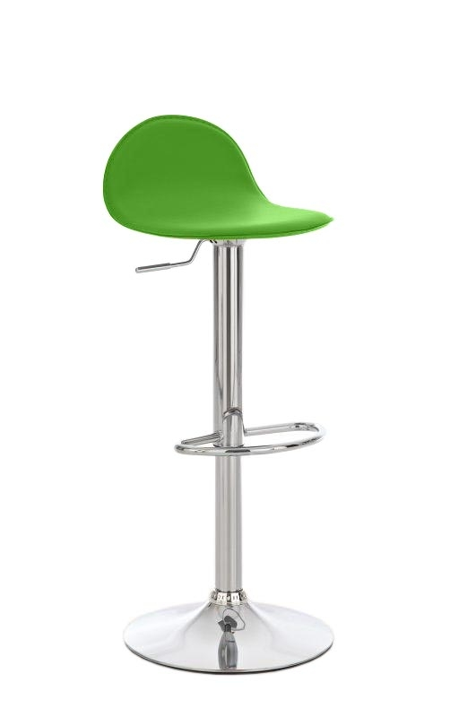 Taburete de Bar CANDELA, exclusivo diseño, ajustable en altura, en piel color verde