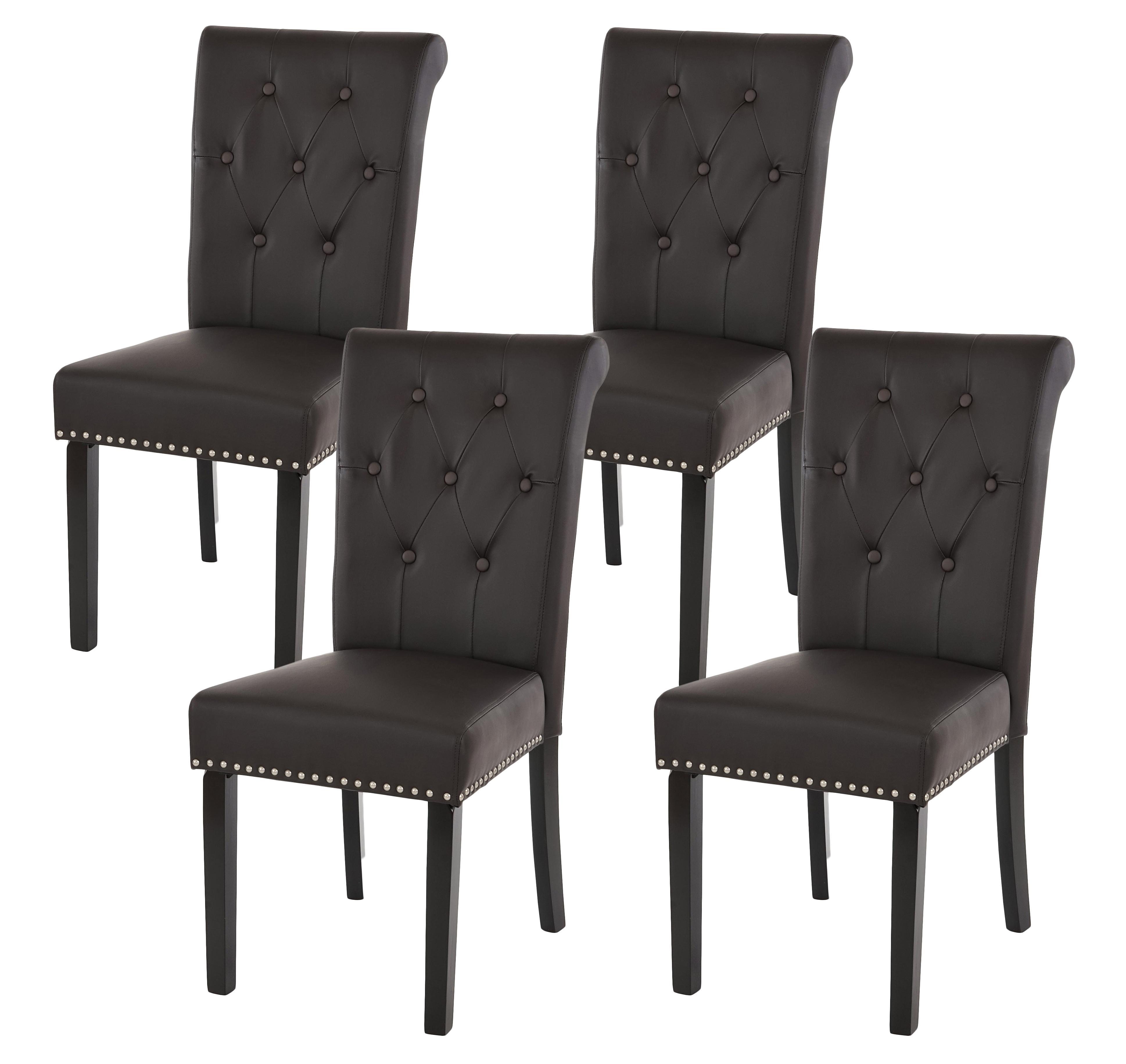 Conjunto de 4 sillas de comedor odesa piel marr n y patas for Sillas cromadas para comedor