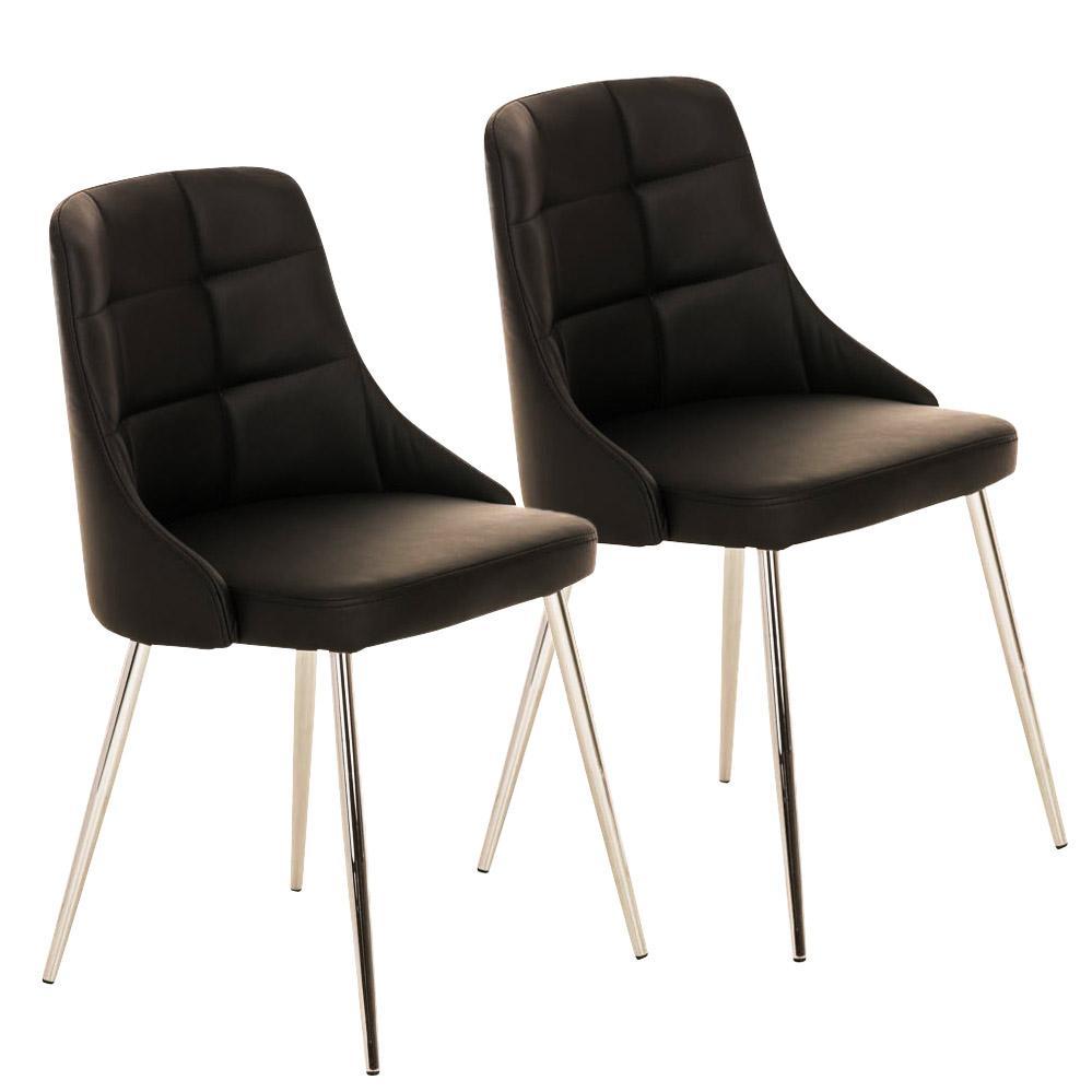 Lote 2 sillas de comedor o cocina harrison en piel negro for Sillas comedor patas cromadas