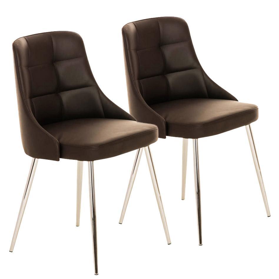 Lote 2 sillas de comedor o cocina harrison en piel marr n for Sillas en piel para comedor